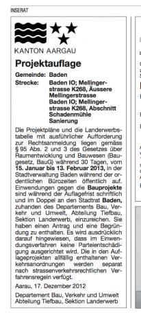 Auflage Bauprojekt Schulhausplatz